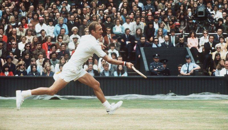 1972: Wimbledon Men's Singles'' Final. Stan Smith seen ction during the final in which he beat Roumania's Ille Nastase. Mandatory Credit: Allsport Hulton/Archive